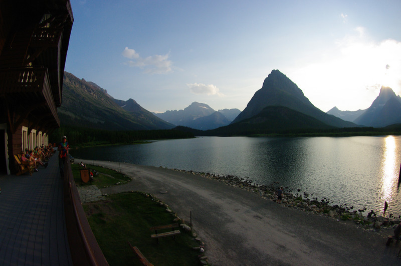 At the Many Glacier Hotel, on Swiftcurrent Lake.