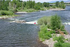 Kayak in the Clark Fork River, from the Higgins Street Bridge.