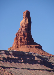 1/15/07 - The day after riding the Verde Canyon R.R. out of Clarkdale, Arizona I was headed north toward Moab, Utah.  This column of red rock was just off Highway 163 a little north of Kayenta, Arizona.