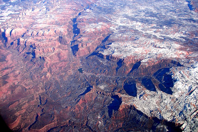 1/18/07 - After viewing much of the broken red rock from ground level, it was interesting to view it again from far above, as the jet carried me to Seattle.