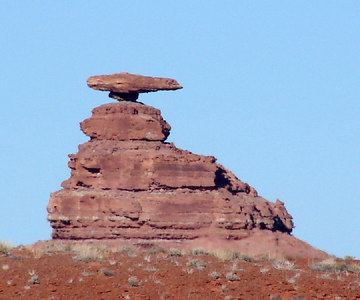 1/15/07 - Mexican Hat Rock as viewed from the south side.  This is just a mile or so north of the little town of Mexican Hat, Utah.