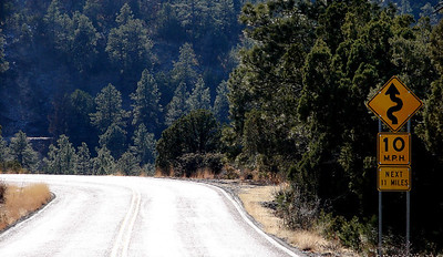 1/17/07 - A few miles south of Alpine, Arizona US-191 continues into the Apache-Sitgreaves National Forest, ascend and descending via some particularly interesting (for a motorcyclist, at least) roads.