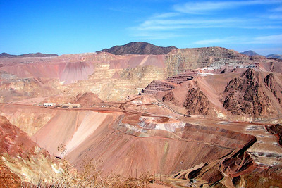 1/17/07 - Just outside Clifton, Arizona this huge open pit copper mine, belonging to Phelps Dodge, occupies thousands of acres in the mountainous terrain.