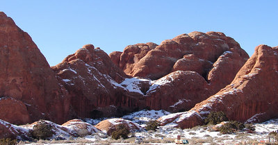 1/16/07 - Red rock above the parking lot at the Devil's Garden Trailhead.