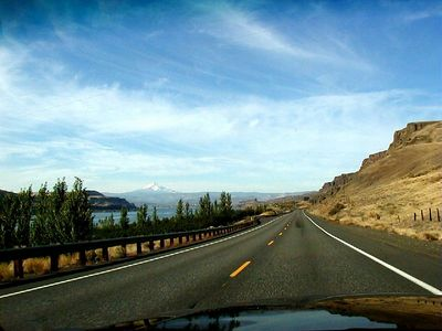 October 2001 - Driving west on WA-14 along the north side of the Columbia River upriver from The Dalles, Mt. Hood on the horizon.