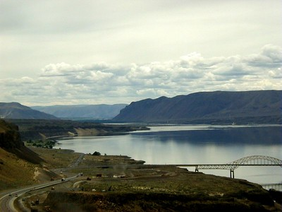 June 2005 - I-90 crossing the Columbia River in Washington between Ellensburg and Moses Lake.