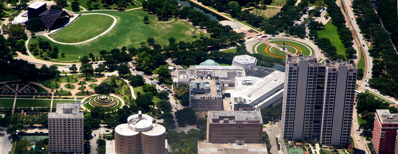 Miller Outdoor Theatre, upper Left.  Rose Garden, lower left.  Houston Museum of Natural Science, lower right.