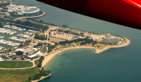 We reach Chicago:  Shedd Aquarium upper left.   Planetarium middle right.