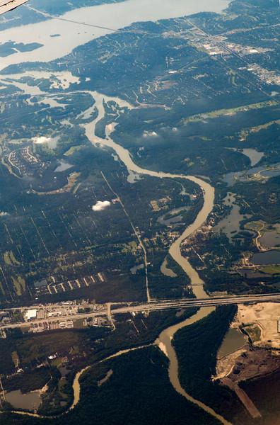 Cypress Creek feeding the north end of Lake Houston.