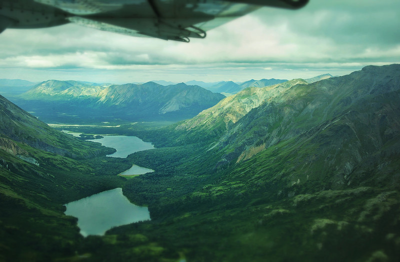 Lakes in the Alaska Range on a flight from Anchorage to King Salmon.