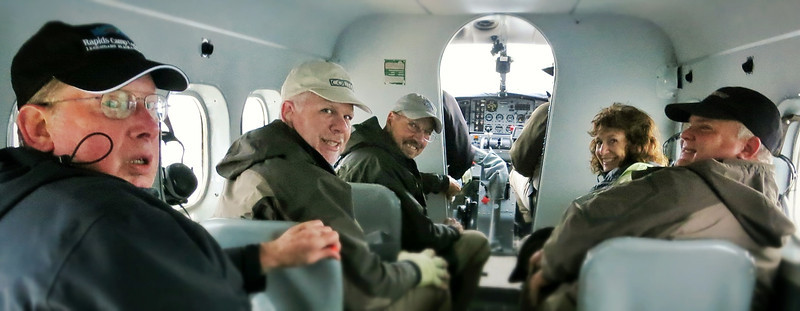 Sam, Dennis, Charlie, Nora, and John on a de Havilland Otter DHC-3 headed to the Nushagak River for another day of silver salmon fishing.