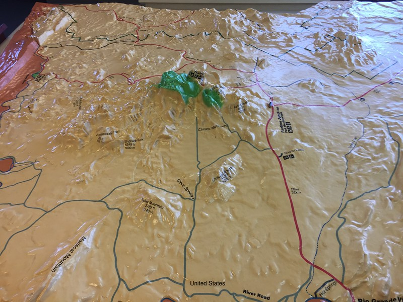 The visitor center had a relief map of the park. You can see how the Chisos Mountains are like a green island in the middle of the park.