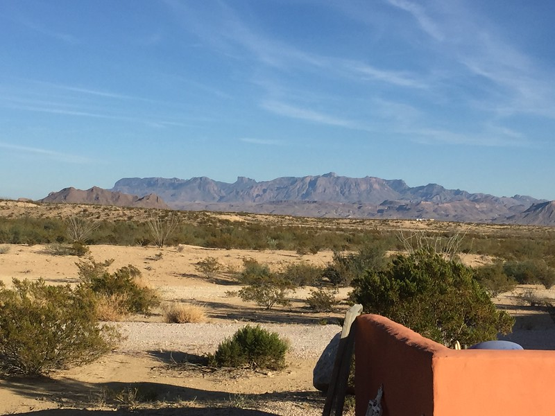 View from the porch of the Chisos Mountains in Big Bend National Park, our destination for tomorrow.