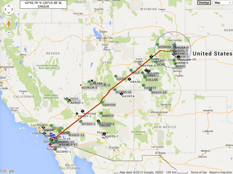 Our flight track on the way to Boulder, CO.