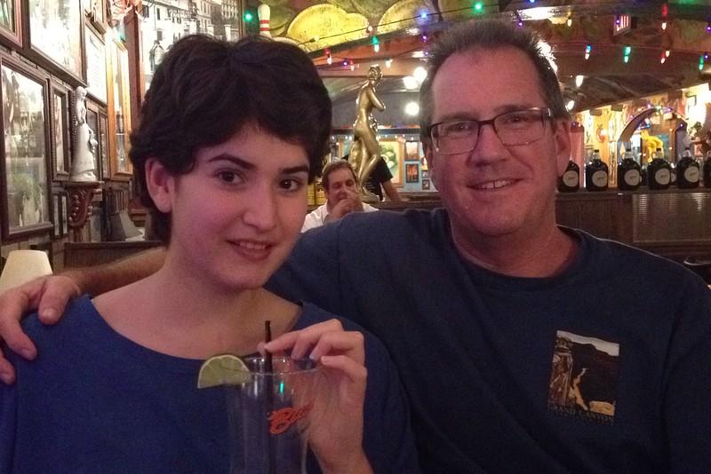 Marissa having a cocktail at Buca DiBeppo.