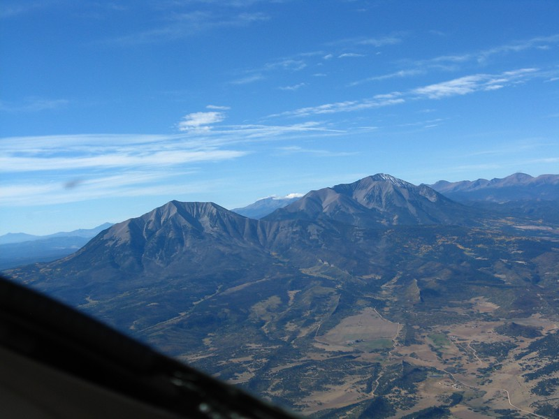 Spanish Peaks are south of Pueblo, CO. La Veta pass was off our right side and we got lots of turbulence here as the air flowed around the peaks.