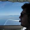 Alex enjoying the view from first class.