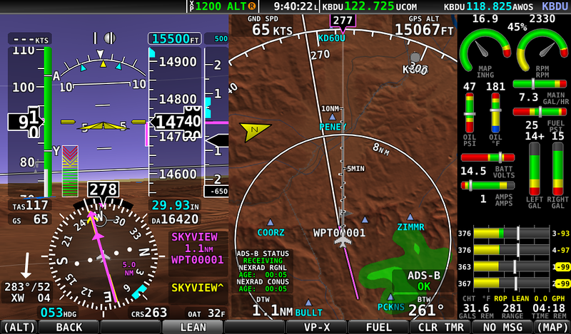 Screen shot of the EFIS. We are just about over the Continental Divide by Eldora Ski Resort. Look at the Ground Speed (GS) - 65 Knots!!! The Arrow in the lower left show the headwind of 52 Knots!!! We were plenty high at 14,500' (the pass is 11,600') and didn't get pounded too much by the turbulence. We did get in and out of some strong updrafts and downdrafts as we headed west from Boulder airport.