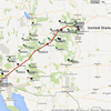 The APRS track from our flight out towards Boulder.