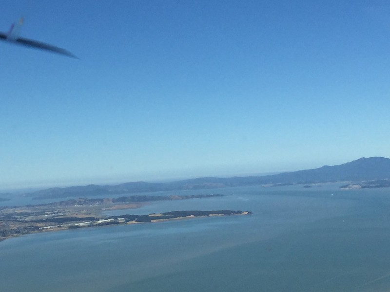 We woke up Sunday morning to clear skies over the Bay, so we flew from Napa over towards the Golden Gate.
