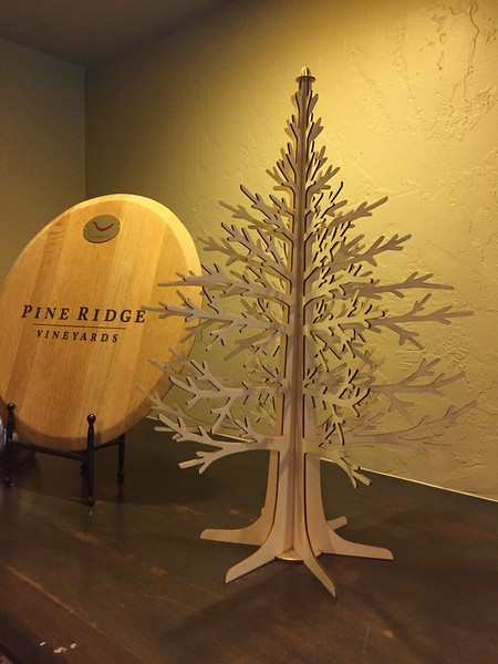 Next day, we headed up the Silverado Trail and stopped at Pine Ridge. Tasting 5 wines was $40! Really good stuff, but a bit out of my price range. We tasted one wine that was $110 a bottle. They had these little laser cut trees in the store.