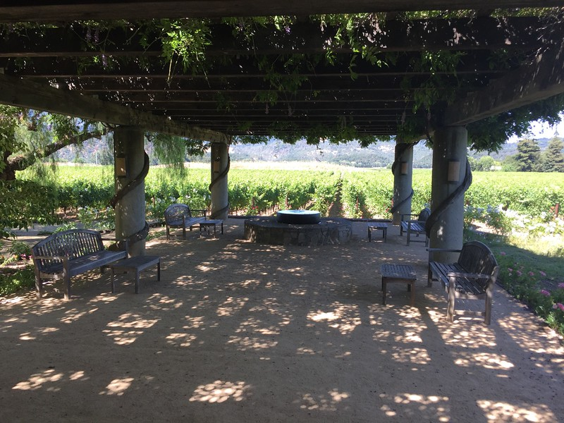 We continued up the valley and tasted at V. Sattui, and then over to Heitz Cellars. This is the patio at Heitz.