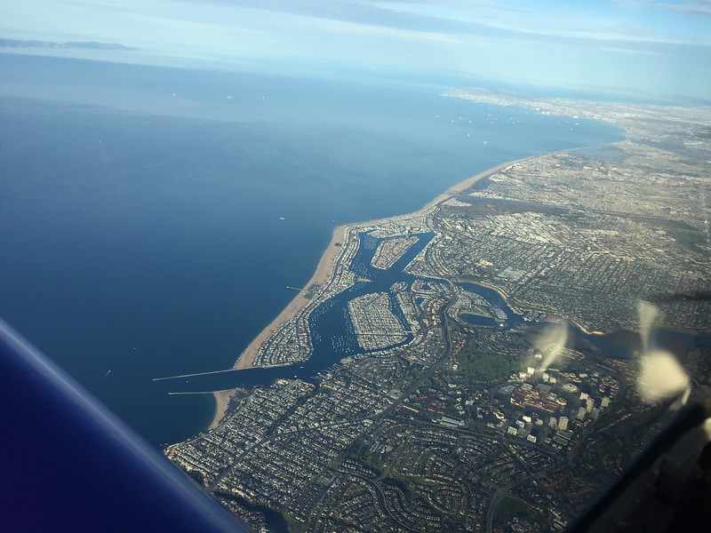 Clear day, big tailwind and perfect for flying up to Paso Robles. Newport Beach down below.