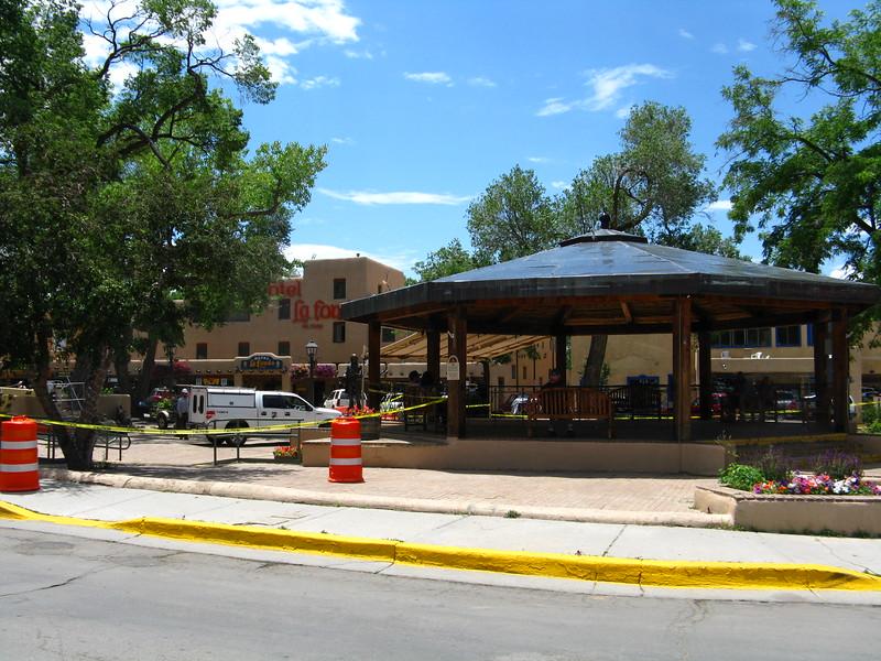 The Hotel La Fonda and the Bandstand in the Plaza.