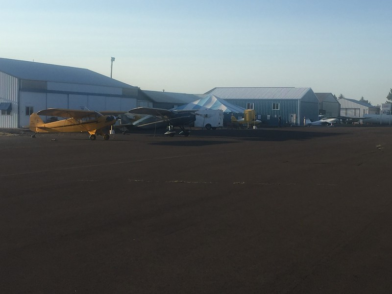 The EAA hangar and big tent for registration. Not too many airplanes on Friday, so I got a good spot to park.