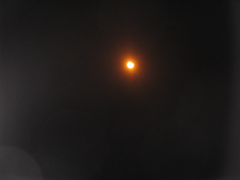 Eclipse just starting to eat away the sun at the 1 o'clock position.