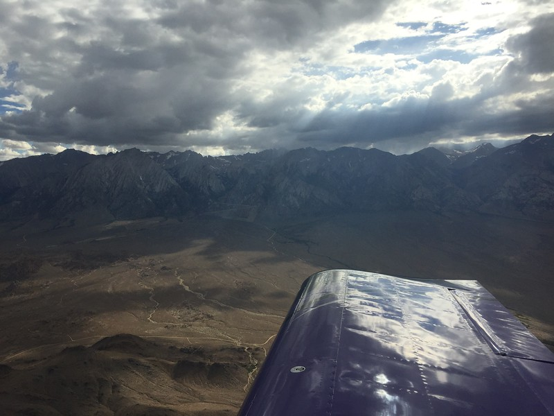Mt. Whitney just touching the clouds. There was a bunch of rain showers on both sides of the valley.