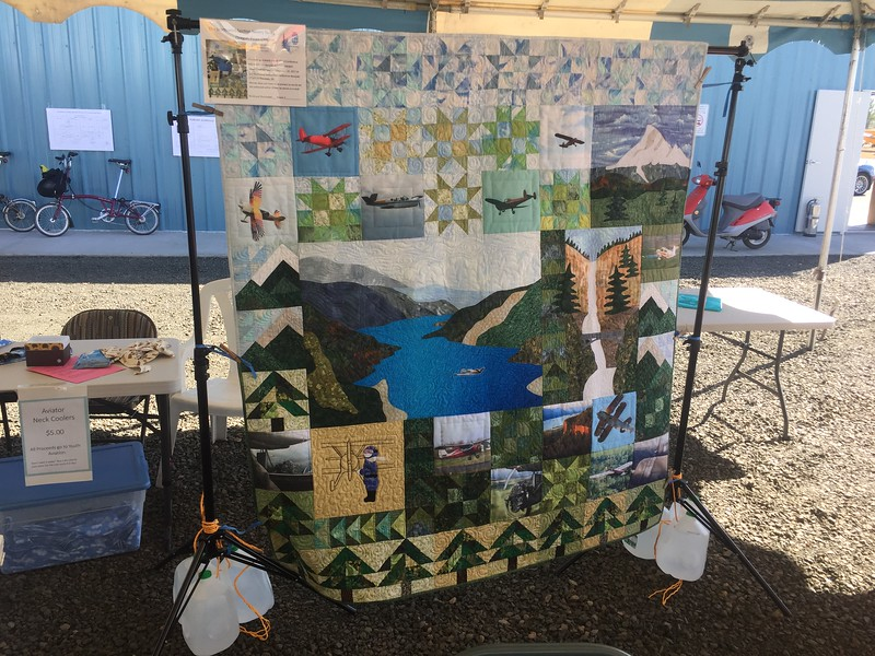 I arrived at Independence Airpark for the Wings over Willamette Fly-in. They put on quite an event. They had a huge silent auction, raffle and other fundraisers for the Scouts and EAA Youth programs. This aviation themed quilt was also put up for raffle.