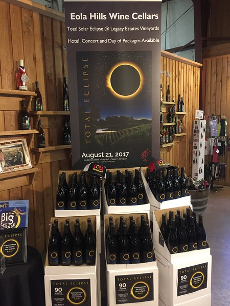 Saturday afternoon, after lunch, we went on a wine tasting tour at Eola Hills. They had this Eclipse Pinot, so I bought a bottle, along with some others.