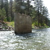 The guide said that this old bridge pylon during the peak snow melt was only about 10 inches above the water level, and the flow of the river was about 100 times more than it was currently.