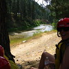 This fork of the river wasn't flowing very much, so we sort of waded in for the first bit and tried not to scrape the bottom with the raft.