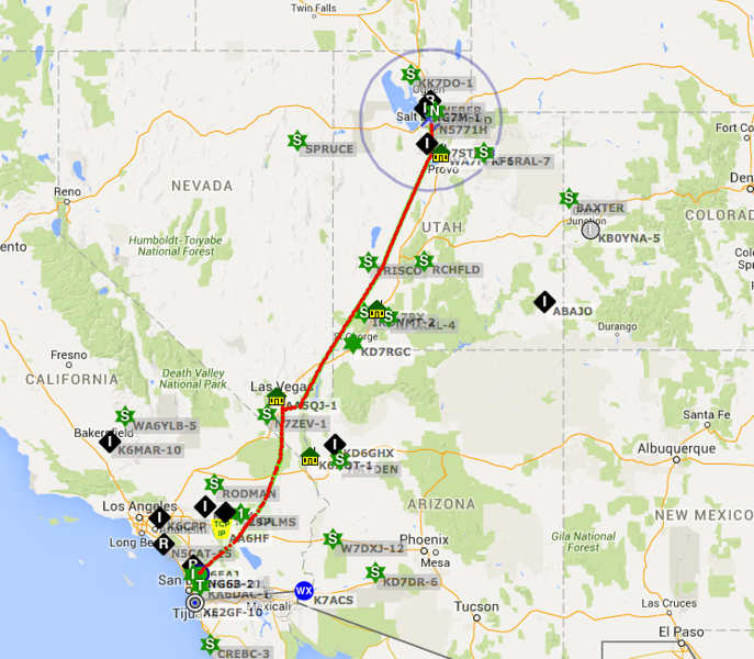 Tracks for the flight out with an overnight in Henderson, NV.