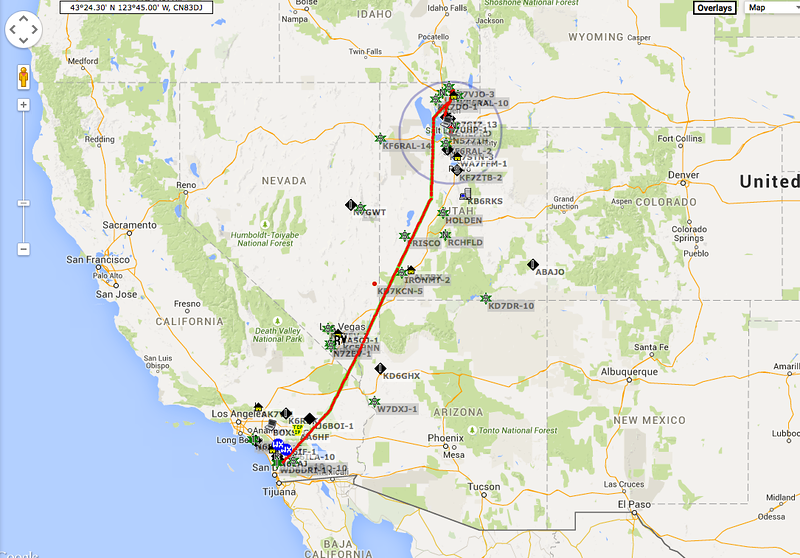 Our flight track on the way up to Logan and then down to Bountiful.