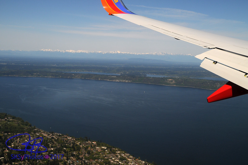 Olympic range over the Puget Sound.  Landing in Seattle.