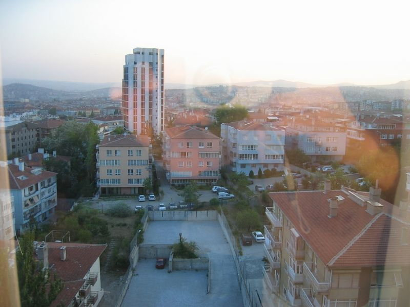Looking out the window of the Ankara Hilton.