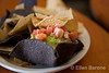 Food detail, guacamole and torilla chips, Santa Fe, New Mexico.