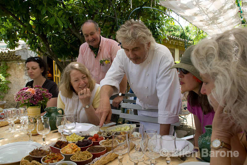 Wayfarers walkers enjoy a delicious Provençal lunch at Auberge de la Loube in  Buoux, the Luberon, Provence, France, Europe.