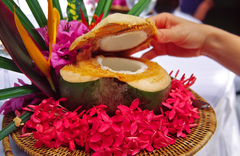 A beautifully presented coconut dish, Pangkor Laut Resort, a private island escape, Pangkor Laut, Malaysia, Asia.