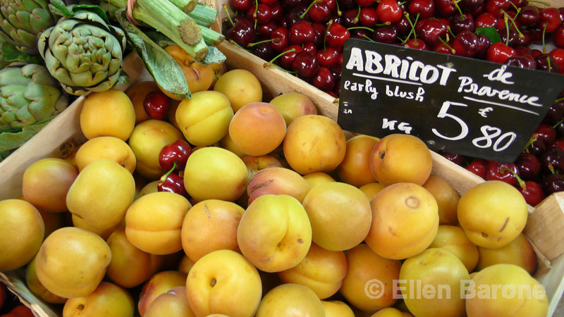 Local produce, apricots, cherries, artichokes, the delights of provencale  cuisine, Provence, France, Europe