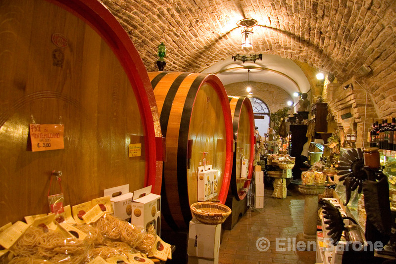 a rock cut wine cellar in Montepulciano, famous for its Vino Nobile wines, Tuscany, Italy