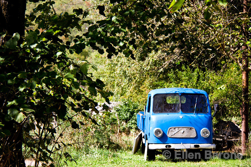 Blue truck, Jablan family farm, Honey Tales & Trails,Rvaši, Rijeka Crnojevića, Montenegro