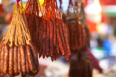Chinese sausage. Sha Tin, Hong Kong.