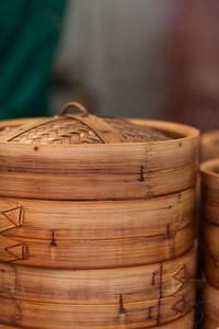 Bamboo steamers for dim sum. Hong Kong street festival.