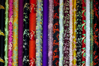 Rolls of silk. Hong Kong.