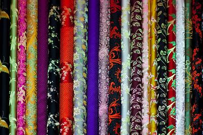 Rolls of silk. Hong Kong.