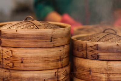 Dim sum bamboo steamers. Hong Kong street festival.